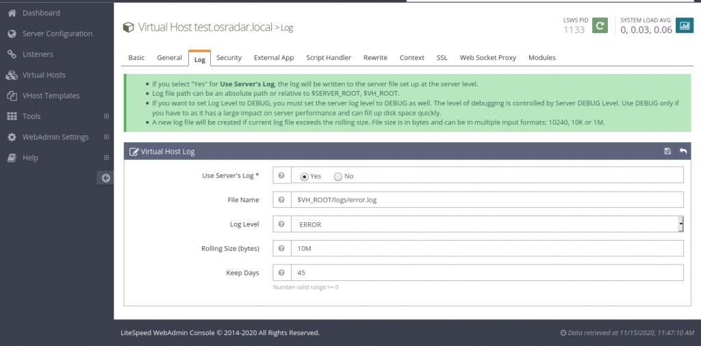 11.- Virtual Hosts Log configuration