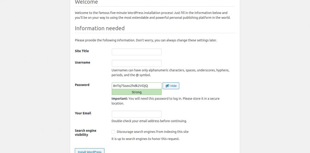13.- Creating the site info on WordPress