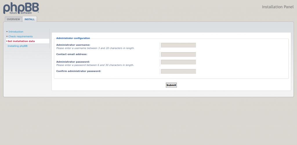 4.-Configuring phpBB installation
