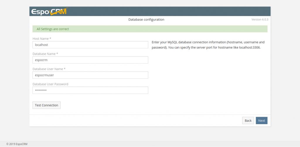 4.- Database configuration