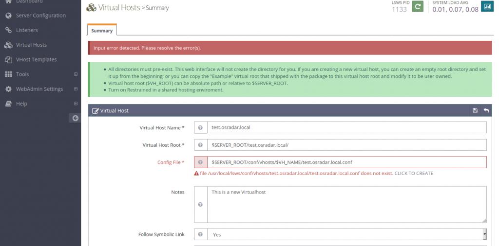 4.- New Virtualhost data