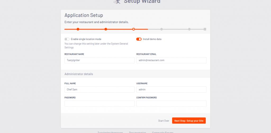 6.-Application Setup screen