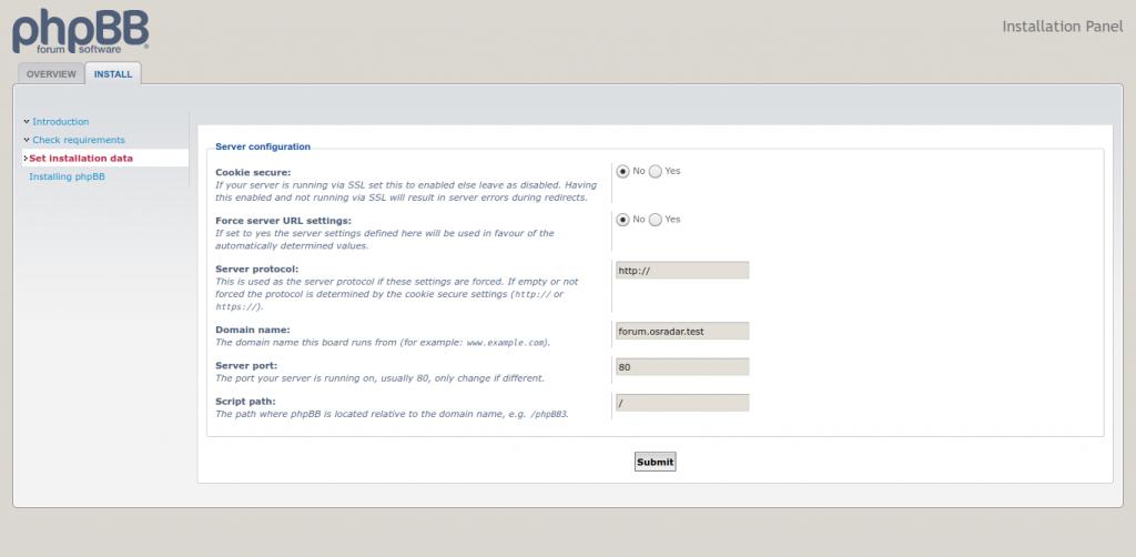 6.- Server configuration screen
