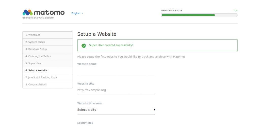 7.- Setup the new website