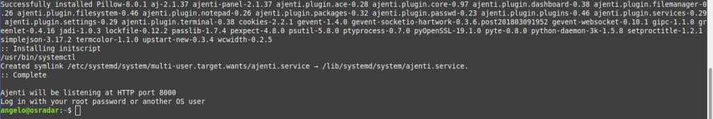 1.- Ajenti installed