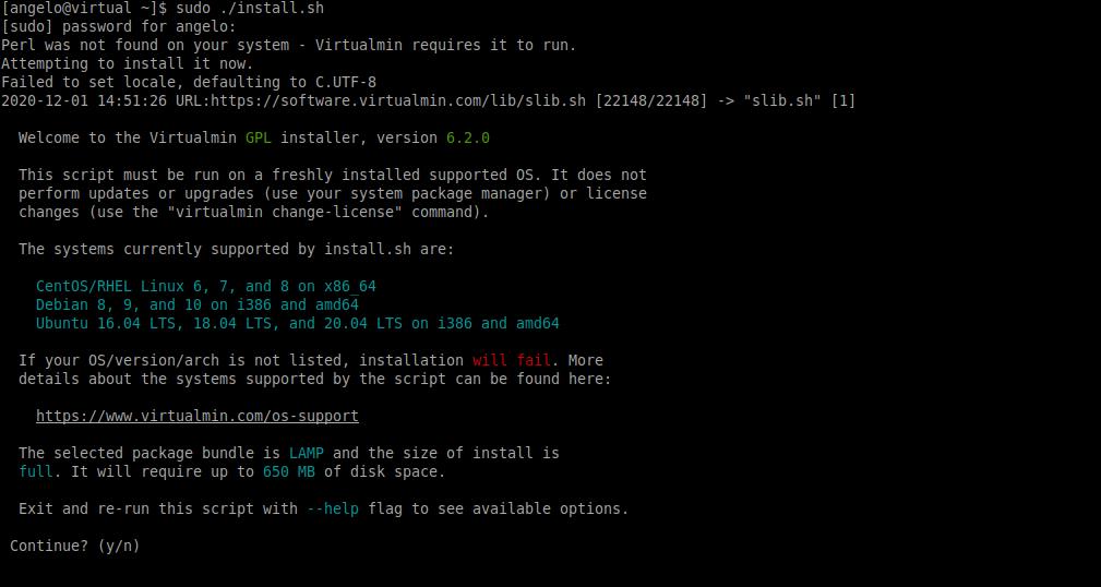 1.- Installing Virtualmin on CentOS 8