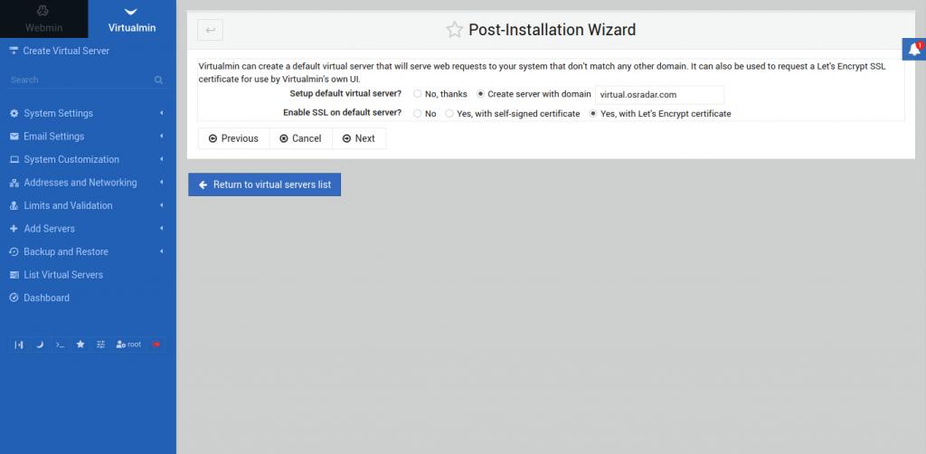 10.- new server screen