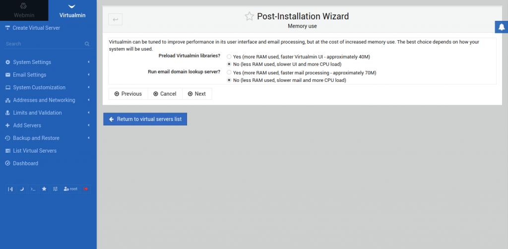 5.- Installing Virtualmin on CentOS 8