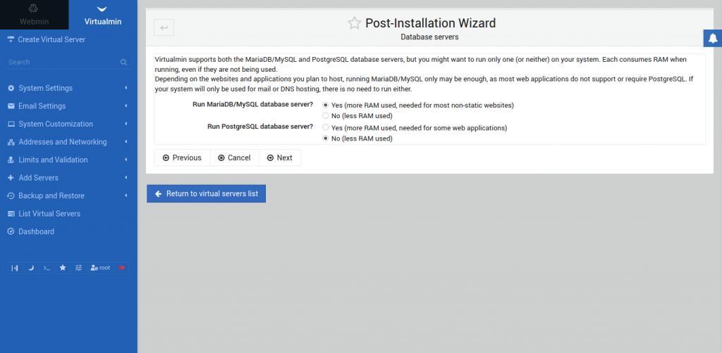 7.- Database servers screen