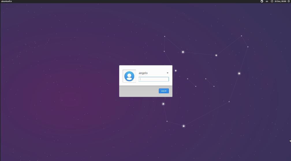 Xfce login screen