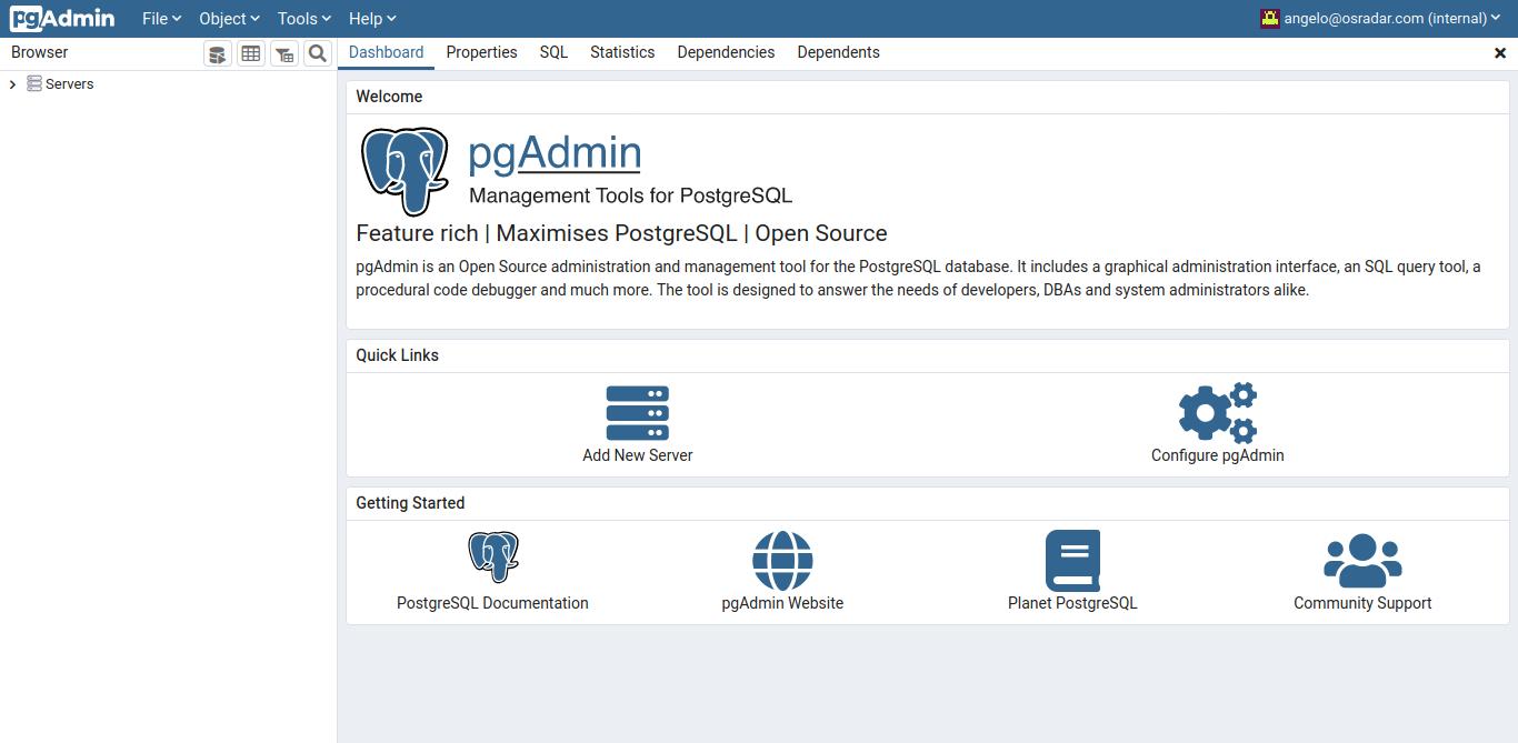 3.- pgAdmin4 running on CentOS 8