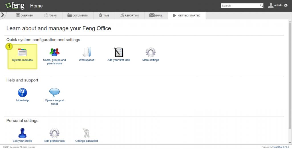 7.- FengOffice running on Debian 10