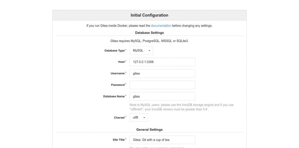 2.- Configuring Gitea before using it