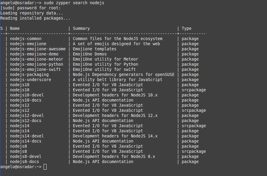 1.- Installing NodeJS on OpenSUSE