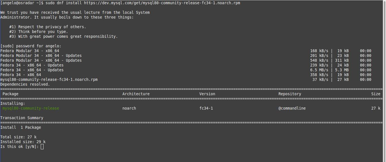 1.- Adding the MySQL repository to Fedora 34/33