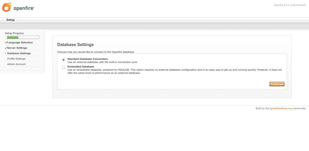 3.- Database settings