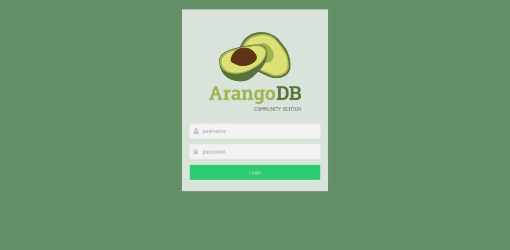 3.- ArangoDB login screen