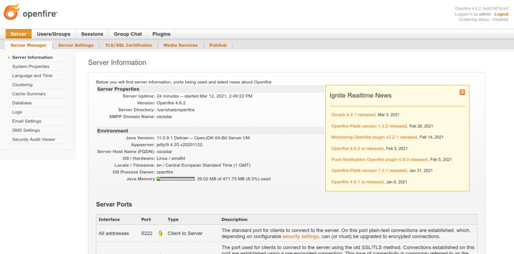 9.- OpenFire on Debian 10