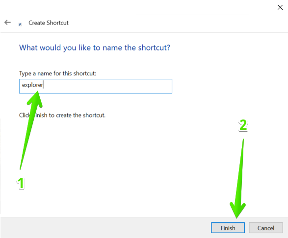Assigning a name to the new shortcut.