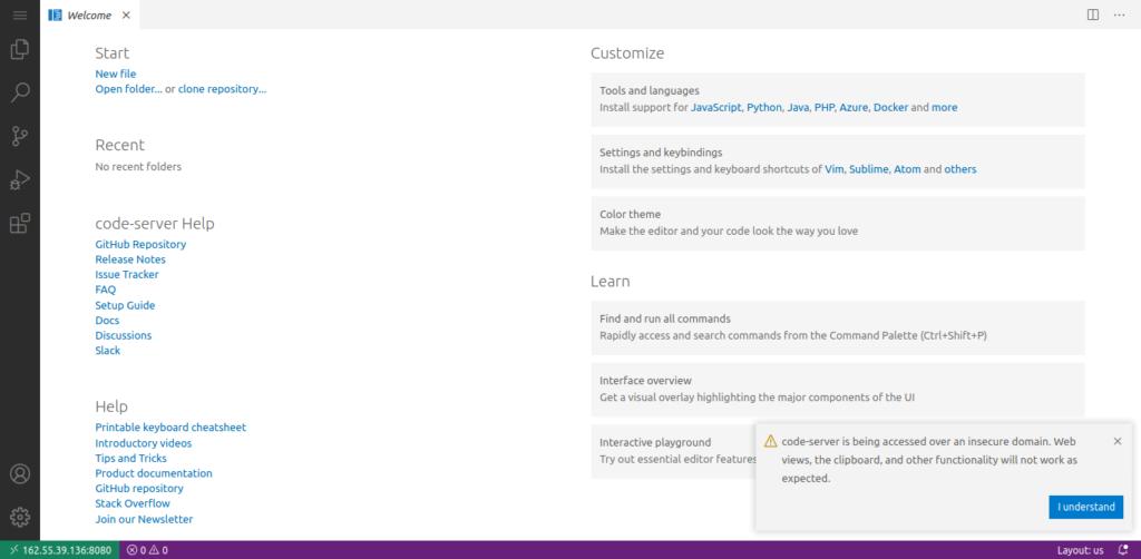 2.- Code Server on Ubuntu 20.04