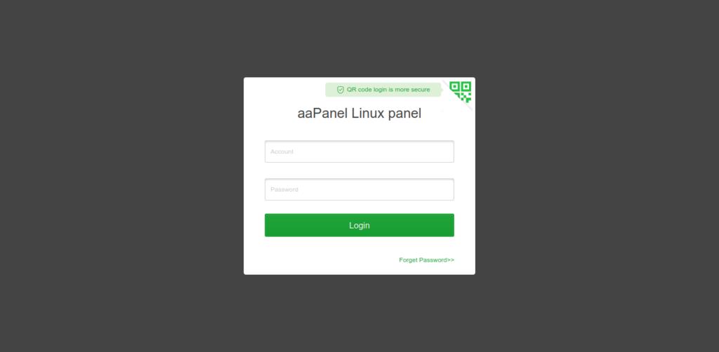 2.- aaPanel login screen