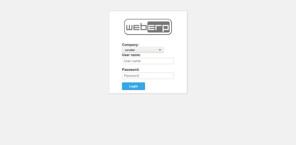 5.- WebERP login screen