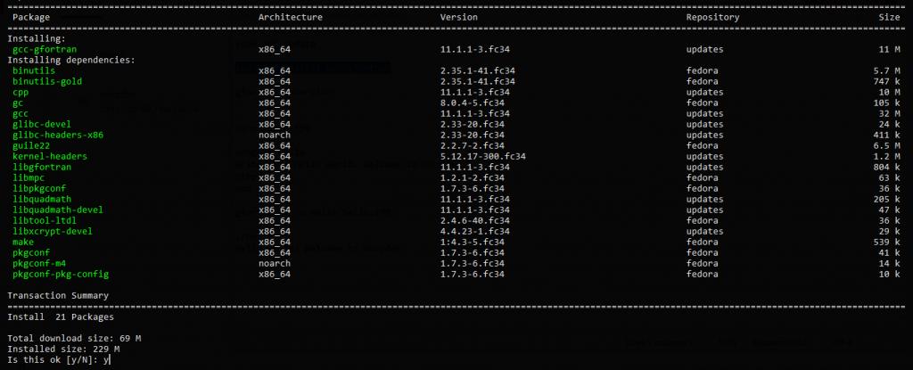 1.- Install GNU Fortran on Fedora 34