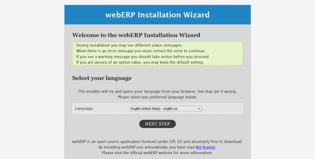 2.- Select the installation language