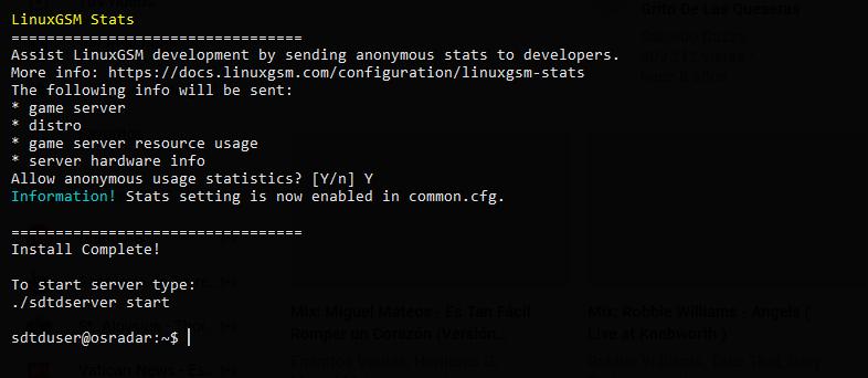 2.- 7 Days to die instance on Debian 10