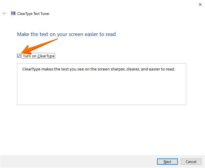 Enabling ClearType in Windows 10