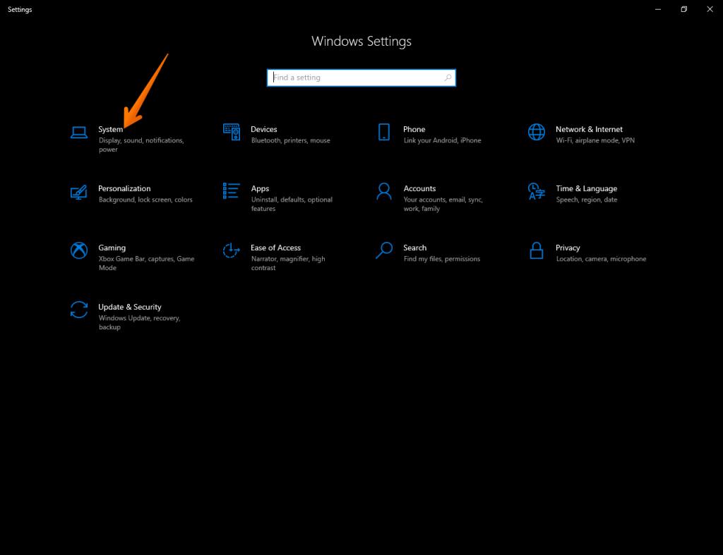 Windows Settings>System