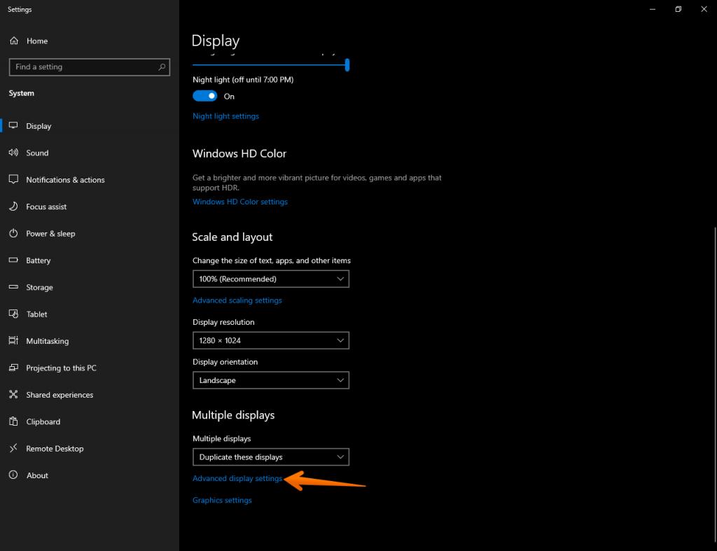 Opening advanced display settings