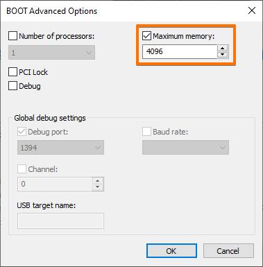 Using the maximum RAM memory in Windows 10.