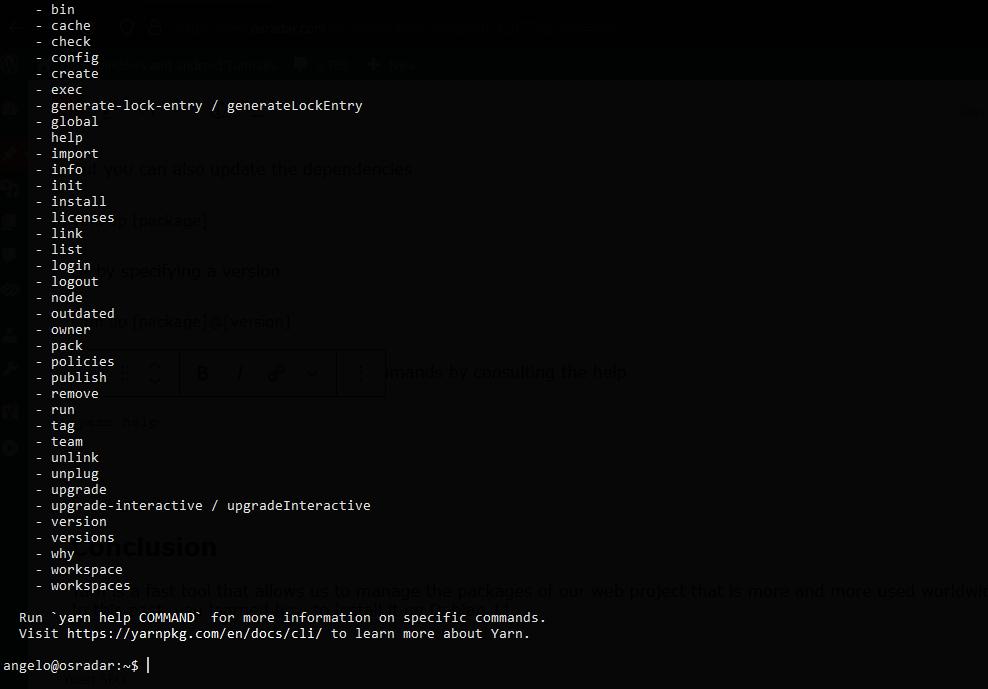 1.- Yarn on Debian 11