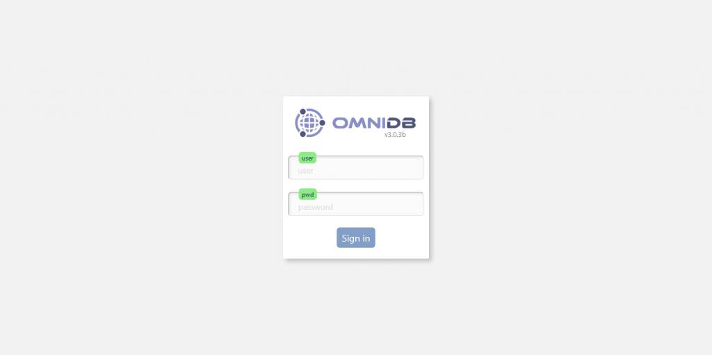 1.- OmniDB login screen