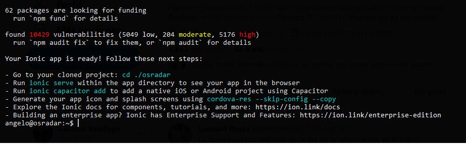 2.- Ionic app installed