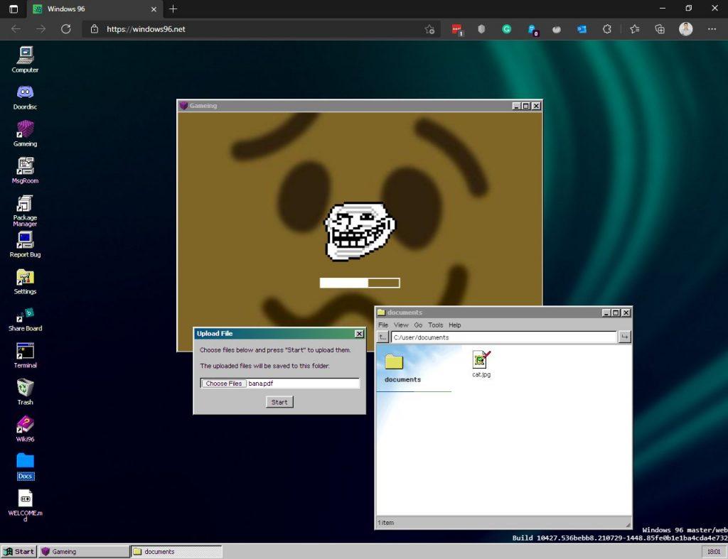 Loading a local file in Windows 96, the Windows 95 parody emulator