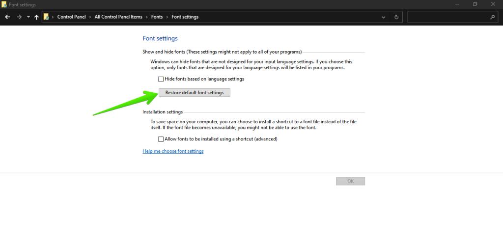 Repairing damaged fonts in Windows 10