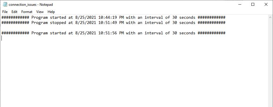 Internet Check Report
