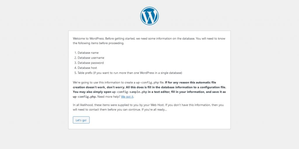 2.- Start the WordPress installation