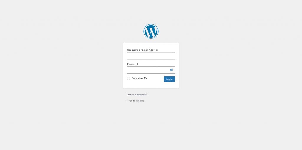7.- WordPress Login screen