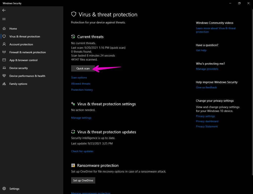 Windows Defender Quick Scan