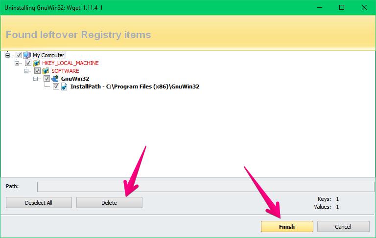 Revo Uninstaller removing all junk files from a program