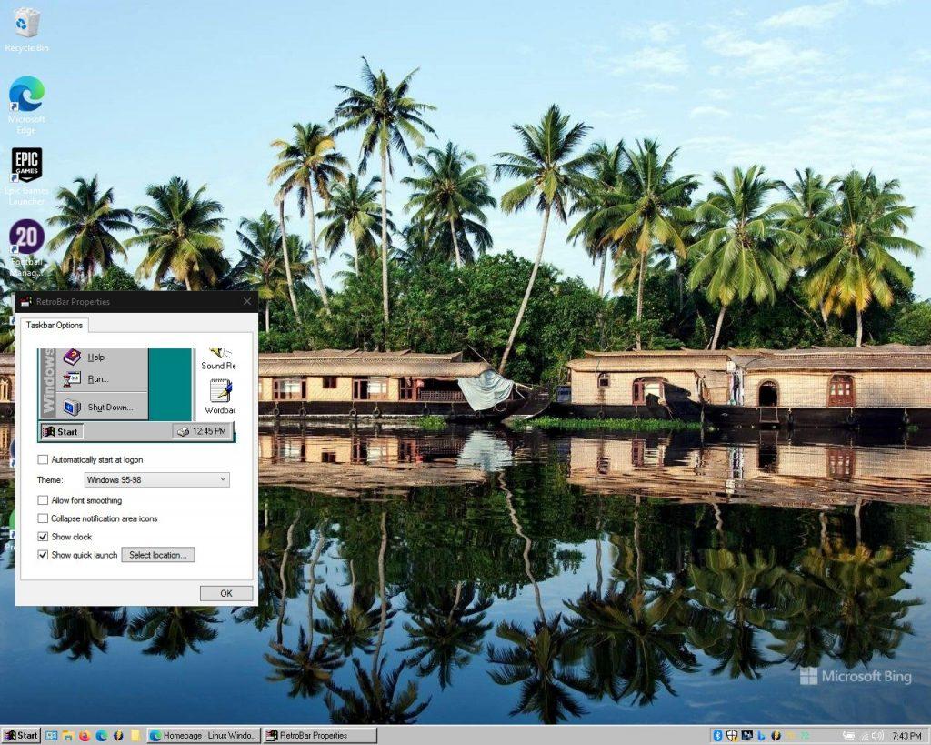 RetroBar changing the look of the taskbar to Windows 95