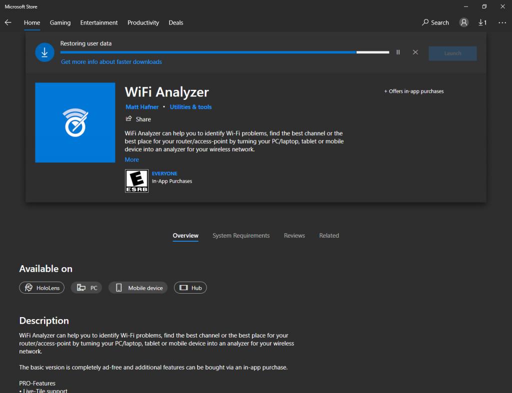 Downloading and installing WiFi Analyzer