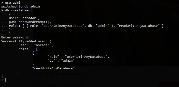 2.- Creating a new user for MongoDB