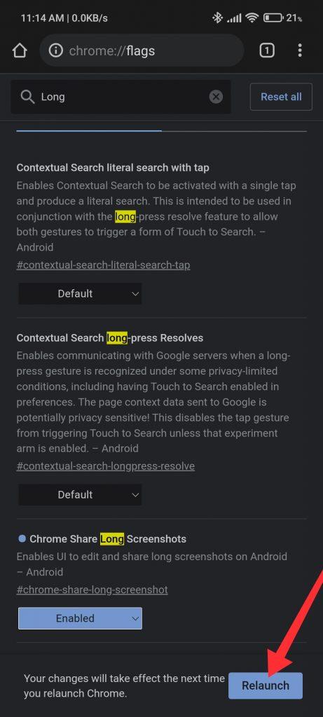 restart the browser screenshots