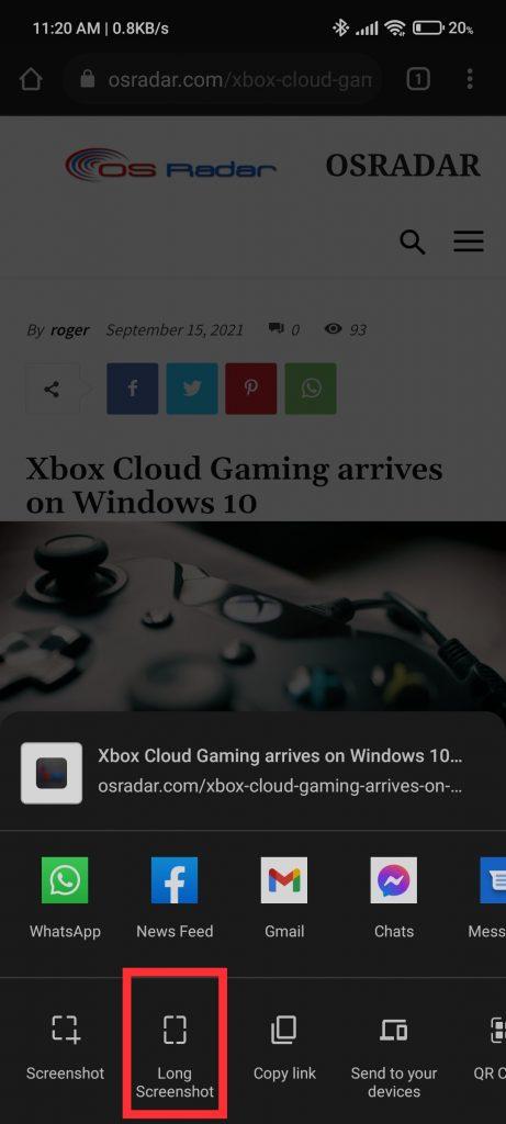 "choose the ""Long Screenshot"" option"